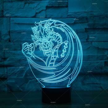 Draak 3d Lamp Amerikaanse Remote touch USB en batterij voeding Led Night Light Kerst decoratieve verlichting