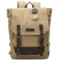 CURIELINE Vintage Canvas backpack Crazy Horse Leather rucksack