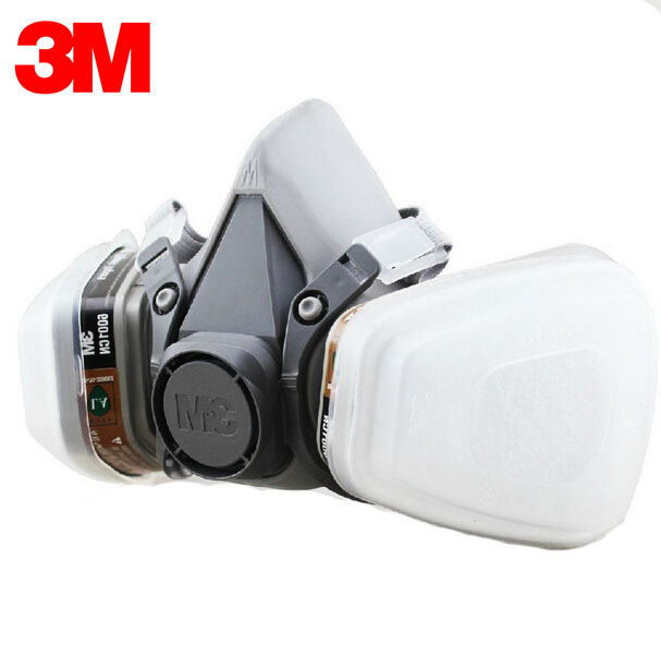 3M 6100+6001 Respirator Half-face Mask Painted Against Organic Vapor Gas Cartridges 7 Items for 1 Set LT066 3m 6300 6003 half facepiece reusable respirator organic mask acid face mask organic vapor acid gas respirator lt091