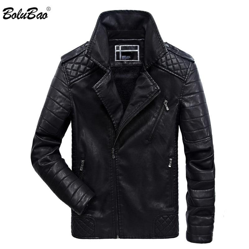 BOLUBAO marque hommes veste d'hiver moto personnalité en cuir veste turn down mâle chaud vestes Style de rue