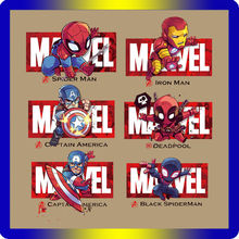 The Marvels of Avengers Deadpool Spiderman Iron Man patches clothes cartoon stickers iron on transfer for boy man T-shirt patch(China)