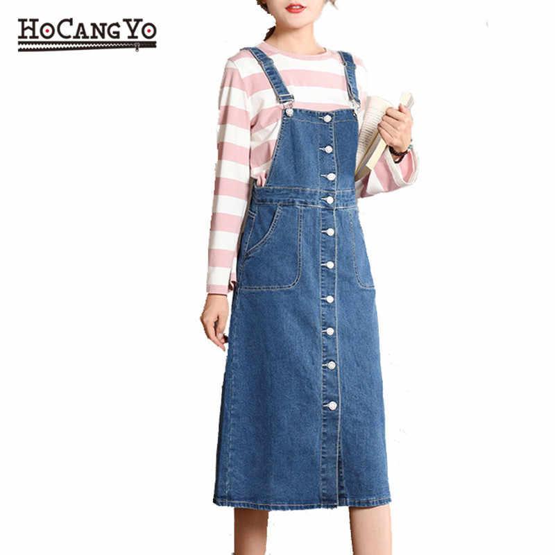 HCYO Plus rozmiar 5XL kobiety sukienka jeansowa wiosna jesień Spaghetti pasiaste sukienki kobiety luźne dorywczo długi dżinsowy Sundress kombinezony sukienka