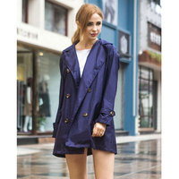 Womens Double Breasted Hooded Raincoat rain coat poncho long travel capa de chuva chubasqueros mujer