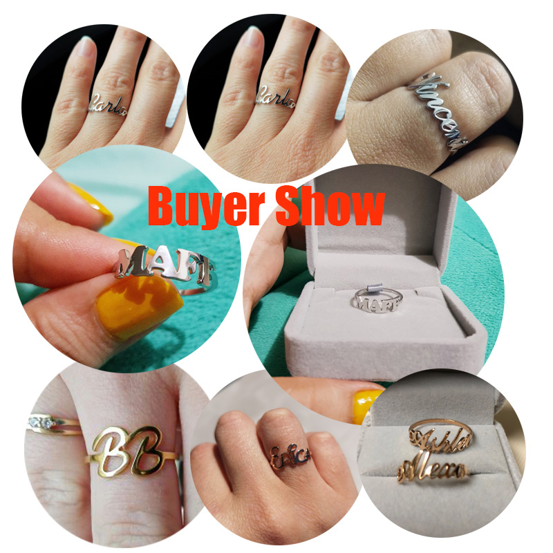 ALI shop ...  ... 32806395853 ... 5 ... Gold Silver Stackable Custom Personalized Name Ring For Women Best Friends Bijoux Femme Wedding Band Stainless Steel Name Ring ...