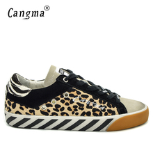 CANGMA Italian Brand Sneakers Men Casual Shoes Vintage Leopard Low Top Horsehair Leather Yellow Bass Breathable Male Shoes 34-48