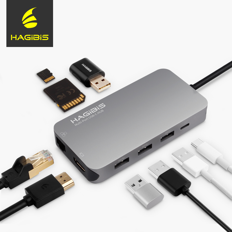 Hagibis 9-in-1 USB C Type-c HUB 3.0 USB-C to HDMI 4K SD/TF Card Reader PD charging Gigabit Ethernet Adapter for MacBook Pro HUB havit 6 in 1 pd charging 40gb 4k video output thunderbolt 3 type c sd microsd card reader usb 3 0 hub for macbook pro1315 t90