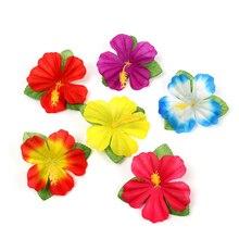 24 шт., цветы гибискуса, Гавайские вечерние, для летней вечеринки, сделай сам, декорации Искусственные цветы, Хула, для девушек, украшение для волос, цветок