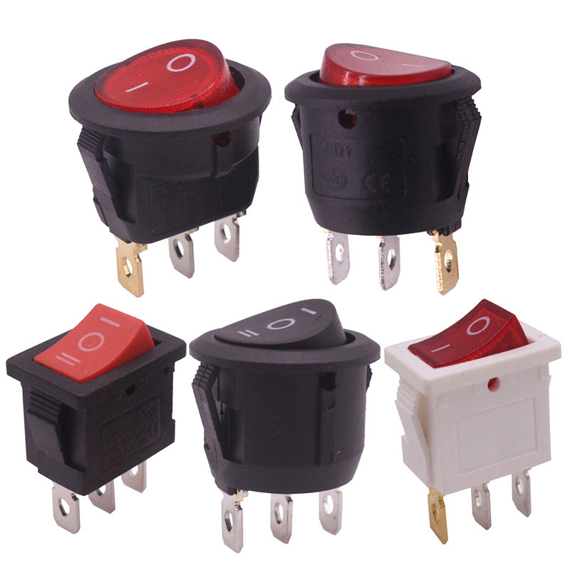 5pcs 5 Styles 3 Pins Rocker Switch Semi-circular Round Square 10A 250V 10A 125V AC Read Carefully Before Buying Wholesale Switch [vk] 4tp66 10 switch rocker 4pdt 15a 125v switch