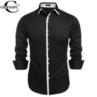 COOFANDY Casual Shirt US Size Fashion Spring Summer 2016 Mens Long Sleeve Luxury Casual Cotton Dress