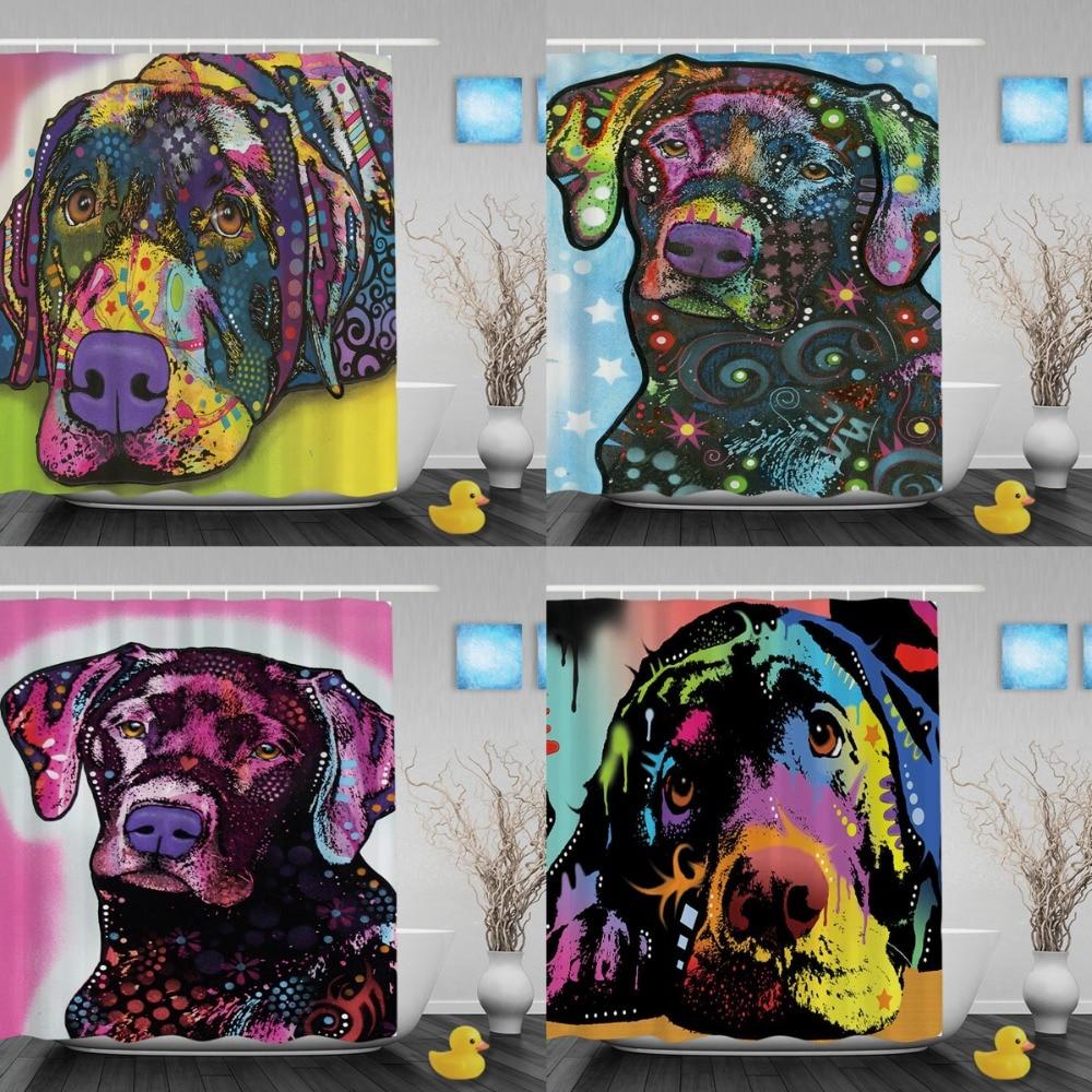 Lindo Labrador Cortinas de baño Moda Animal Arte Baño Cortinas de - Bienes para el hogar