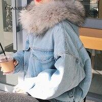 Хлопковая джинсовая куртка женская с меховой отделкой капюшона размера плюс пуховые парки пальто женское однобортное джинсовое пальто зим...