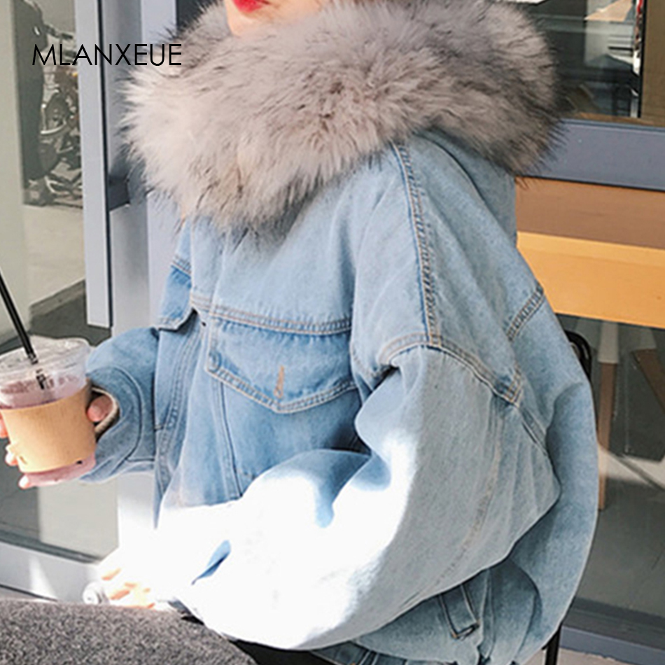 Cotton Liner Denim Jacket Women With Fur Trim Hood Plus Size Down   Parkas   Coats Female Single Breasted Denim Outover Coat Winter