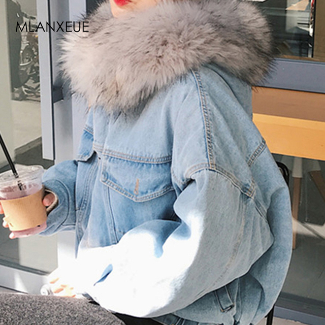 ผ้าฝ้าย DENIM แจ็คเก็ตผู้หญิง FUR Trim Hood PLUS ขนาดลง Parkas เสื้อโค้ทหญิงเดี่ยว Breasted DENIM Outover Coat ฤดูหนาว