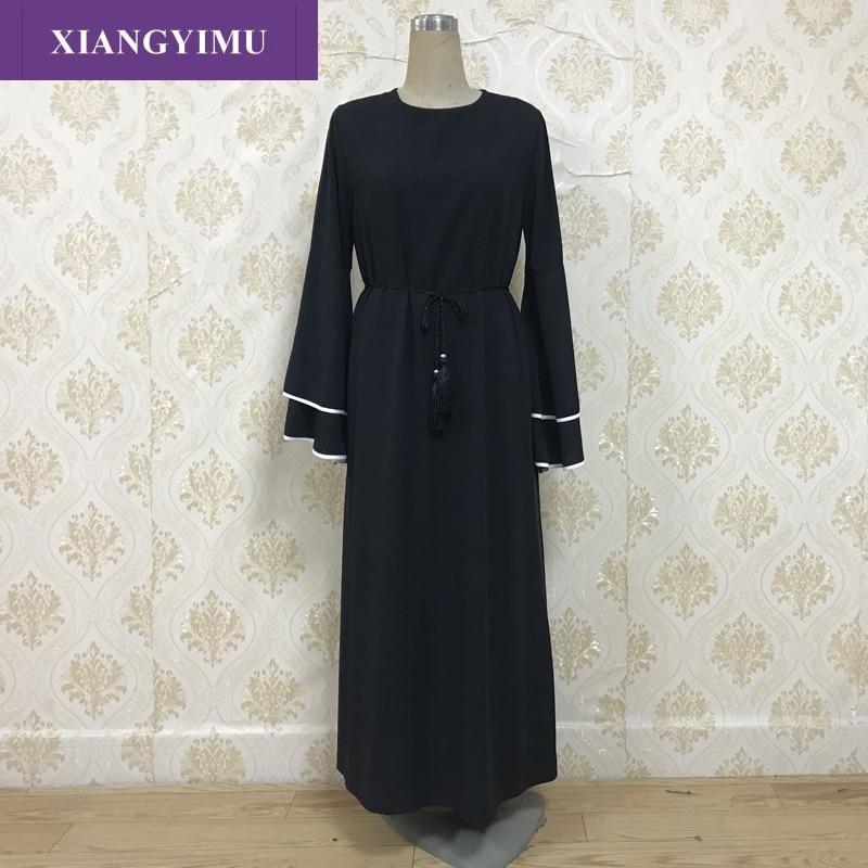 Z06 2019 Muslim Women Dubai Abaya Black Robe Long Sleeve