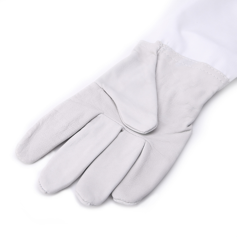 1 Pair Beekeeping Protective Gloves With Vented Long Sleeves Faux Goatskin Tools in Insect Supplies from Home Garden