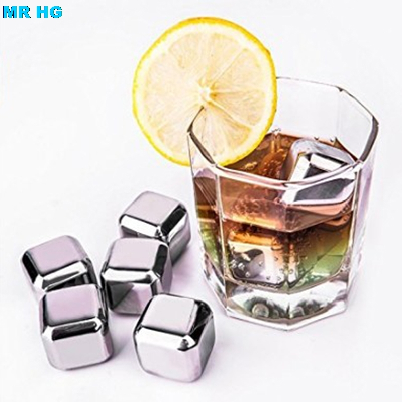 Stainless Steel Ice Cubes Chilling Reusable Whiskey Red Wine Beer Drink Glacier Cooler Stones 4PCS/6 PCS/8PCS /BOX