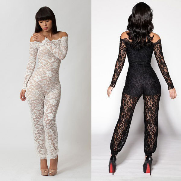 Black White Lace Elegant Rompers Womens Jumpsuit 2017 New Arrival Summer Off Shoulder Long Sleeve Skinny Sexy Club Bodysuit 1165