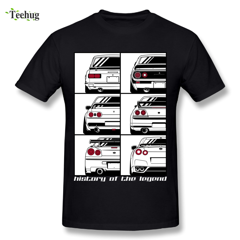 Novelty Men Skyline Graphic Print T-Shirt O-neck Leisure Cotton GTR Car T Shirts