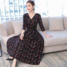 2018 winter autumn dresses women long sleeve maxi party dress plus size large S-XXL XXXL 4XL elegant noble print floral clothes