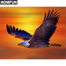 HOMFUN 5D Diamond Pattern Rhinestone Needlework Diy Painting Cross Stitch Animal Eagle Embroidery A06212