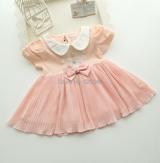 baby clothing 2017 Top quality children newborn infant baby dresses fashion Bow princess baby girls dress pink white Retail