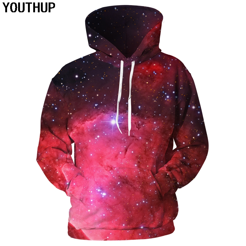 YOUTHUP 2019 Red Galaxy 3d Hoodies Men Women Hooded Hoodies 3d Print Space Galaxy Sweatshirts Men Pullover Tracksuits Plus Size
