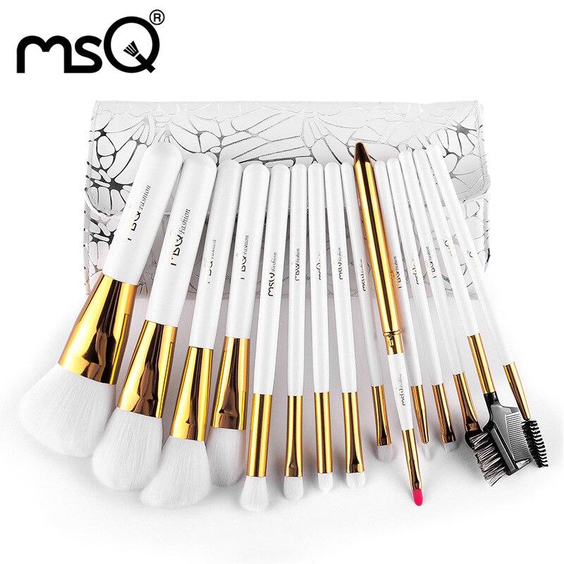 Fashion Women 15Pcs Makeup Brush Set Makeup Beauty Blush Foundation Contour Powder Cosmetics Brushes Kits Pu Leather Travel Bag