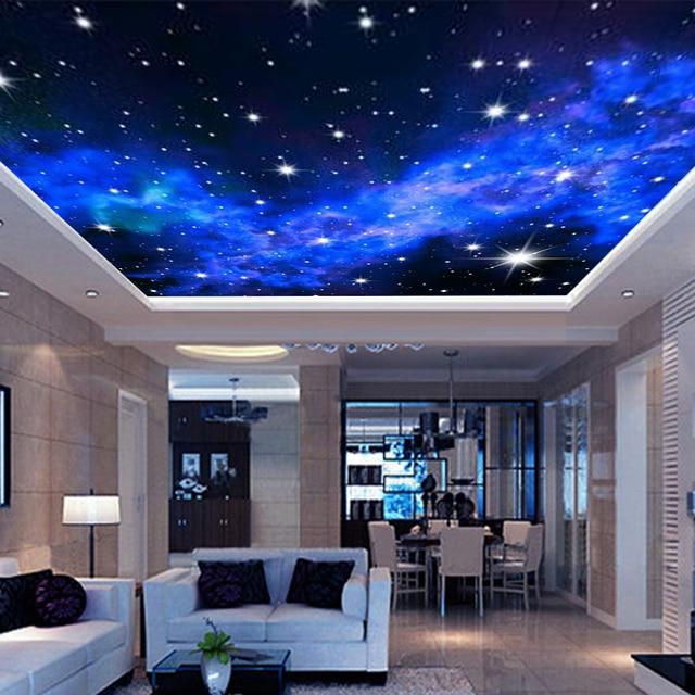 Light Blue Wallpaper Bedroom Bedroom Ceiling Design 2016 Bedroom Ceiling Light Design Beautiful Bedroom Art: Interior Ceiling 3D Milky Way Stars Wall Covering Custom