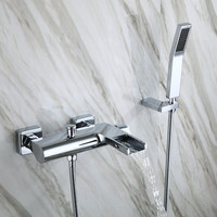 2016 Wholesale New Arrival High Quality Brass Construction Unique Wall Mounted Bathtub Faucet Waterfall Bath Shower