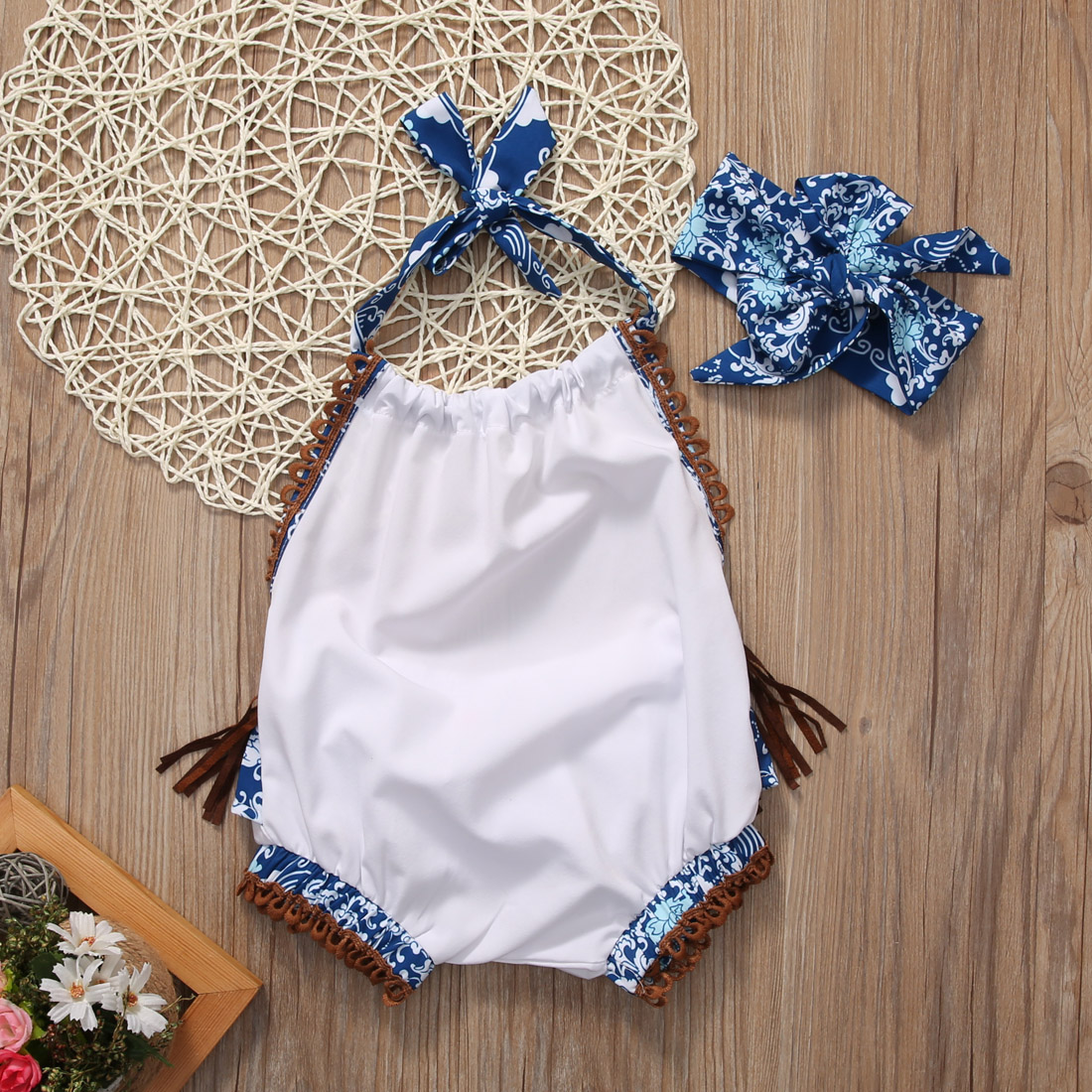 2pcs Baby Set Newborn Baby Girl Clothes Summer Cotton Sleeveless Floral Tassels Backless Romper+Headband Outfit Set Clothes 2017 floral baby romper newborn baby girl clothes ruffles sleeve bodysuit headband 2pcs outfit bebek giyim sunsuit 0 24m