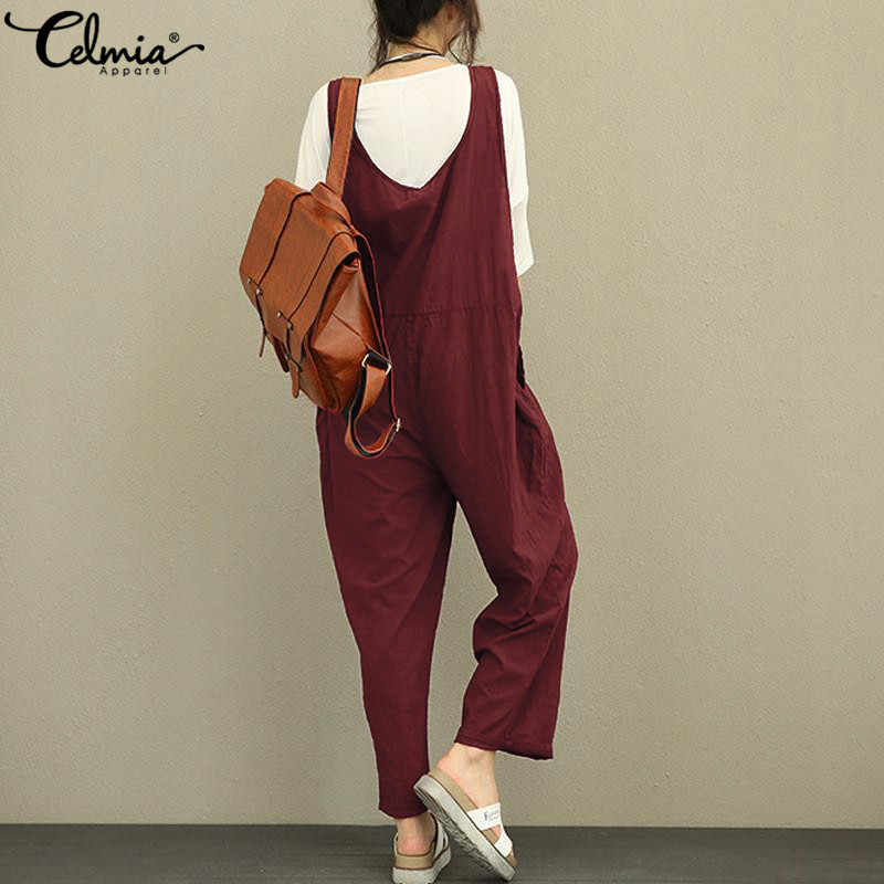 5b5632108b5 ... Celmia Women Vintage Linen Jumpsuit 2019 Summer Romper Sleeveless  Backless Dungarees Solid Casual Trousers Plus Size ...