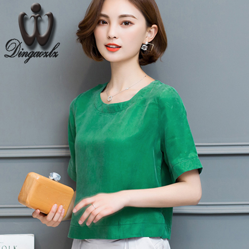 Dingaozlz 2017 verano loose women fashion clothing tops de seda elegante mujer a
