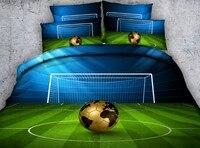 Футбольная кровать набор постельного белья роскошные одеяла наборы 3D Footbal пододеяльник простыня простыни постельное белье Cal King queen размер