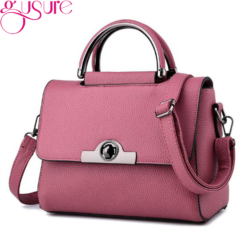 49b458229b89b Gusure Women PU Leather Tote Bag Ladies Handbag New Arrival Shoulder Bags  Solid Color Female Messenger Bags Travel Crossbody Bag