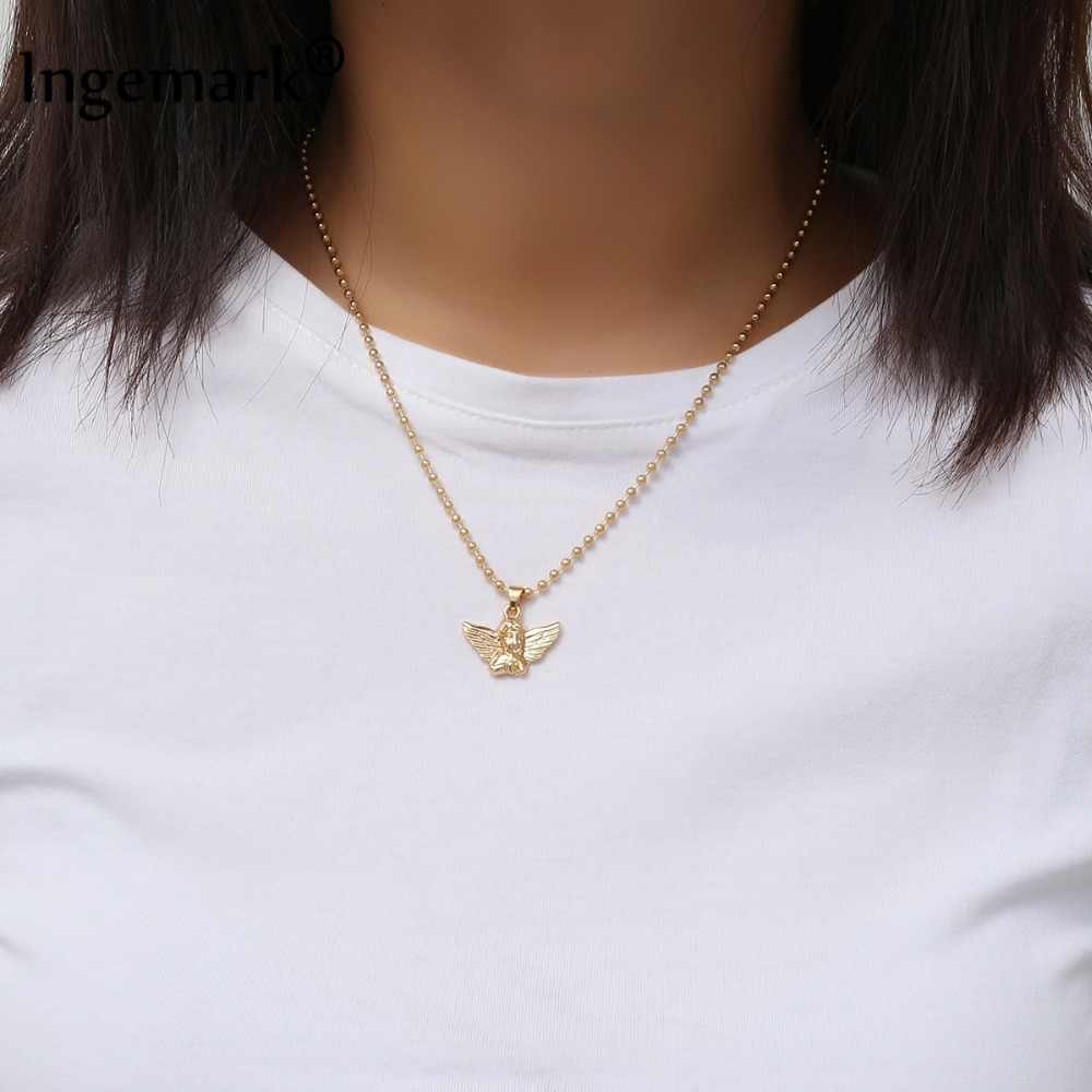 Ingemark New Fashion Angel Pendant Choker Necklace Eco-Friendly Material Alloy Beads Boho Chain Necklace Collier Women Jewelry