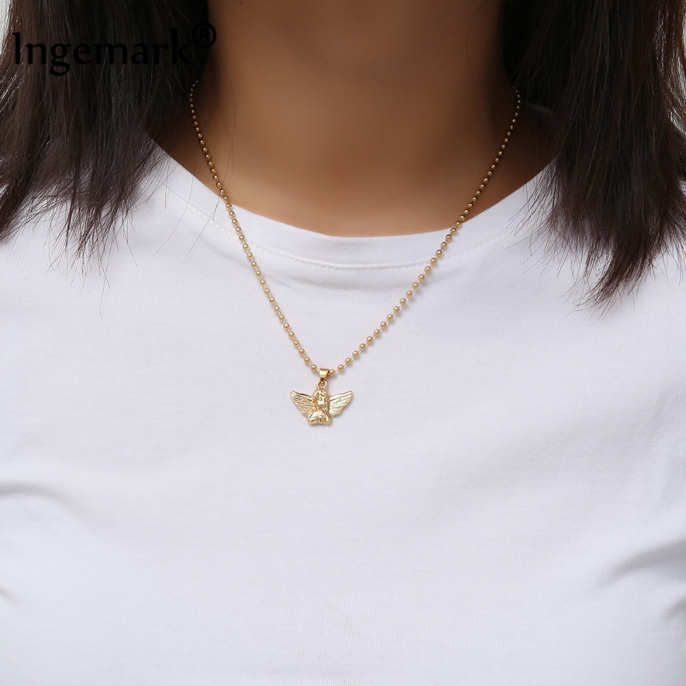 Ingemark New Fashion Angel Pendant Choker Necklace Eco-Friendly Material Alloy B