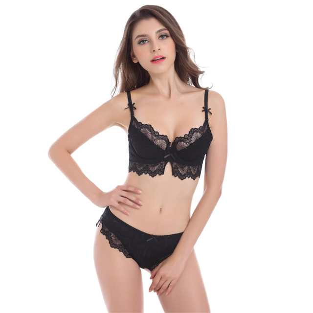 12529244e57 Online Shop Lace Women Bra Set Sexy See Through lingerie Transparent Plus  Size Bra and Panty Sets 85D 75D White Bras Black Underwear Brand