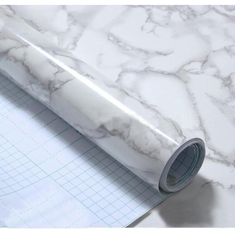 Modern Waterproof Vinyl Self Adhesive Wallpaper Marble Paper Kitchen Cupboard Shelf Drawer Liner Wall Stickers