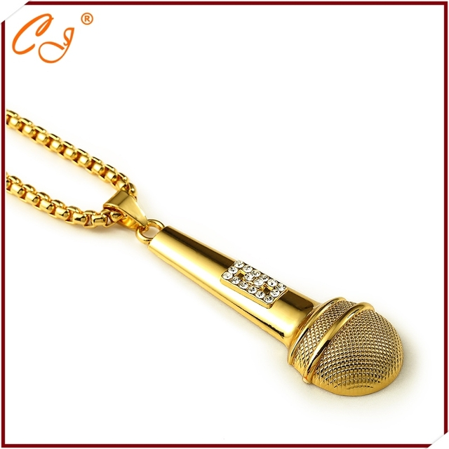 New 18 k set auger microphone necklace pendant HIPHOP hip-hop tide men's and women's accessories wholesale small pendant