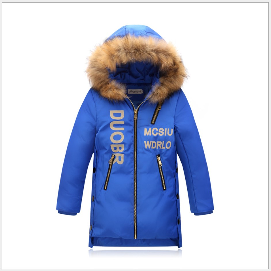 Boys Winter Coats 2017 Woollen Collar Children Down Jackets  Hooded Kids Jacket Teenager Boys Parka Long Girls Outerwear 4T-11T girls down coats girl winter collar hooded outerwear coat children down jackets childrens thickening jacket cold winter 3 13y