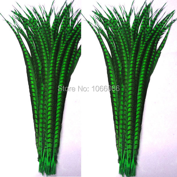 EMS free shipping 50pcs 30-35inch 80-90cm Green dyed pheasant tail - Arts, Crafts and Sewing