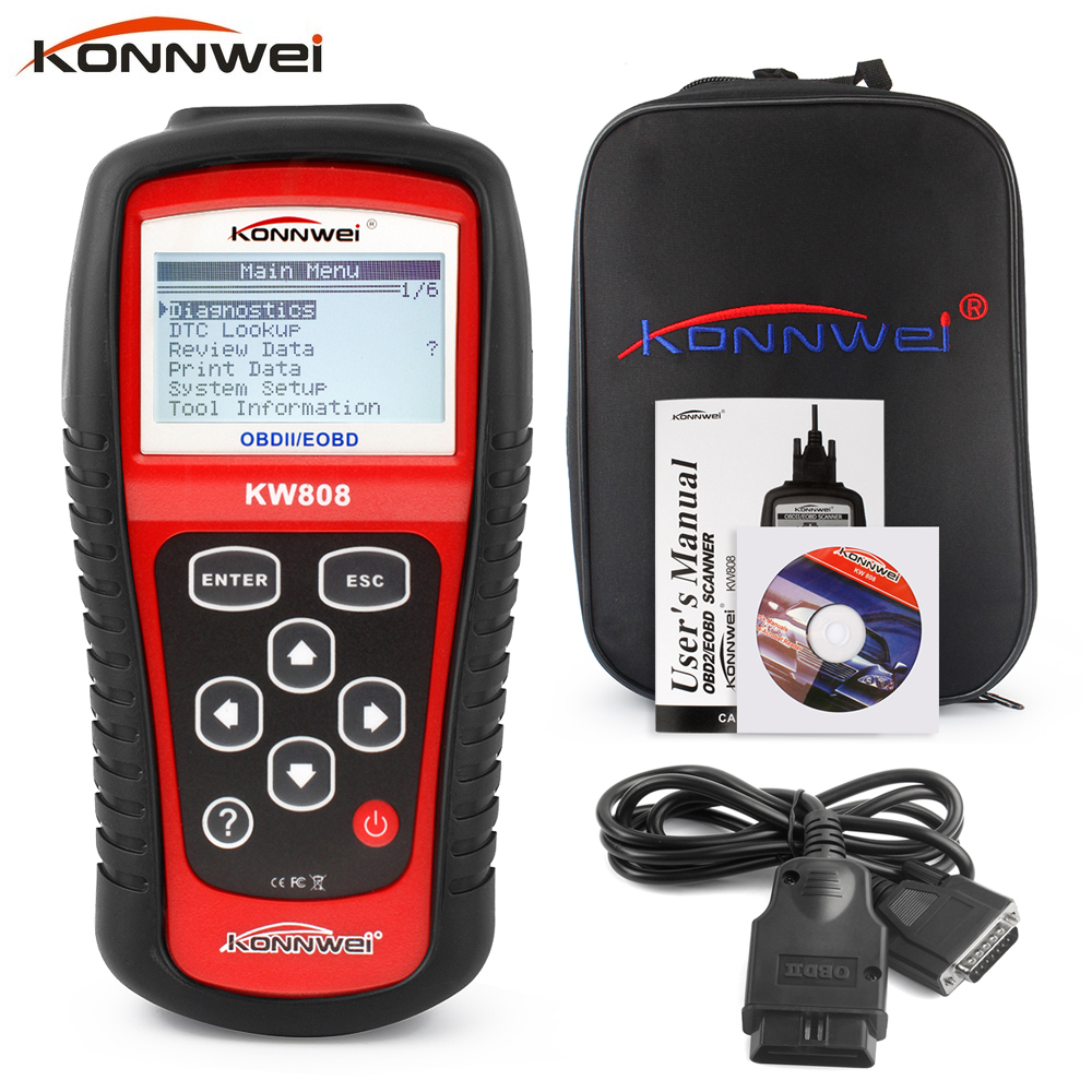 ФОТО OBD2 Scanner KW808 Car Diagnostic Code Reader  CAN OBDII / EOBD Auto Engine Reset Tools work for US/Asian/European vehicles