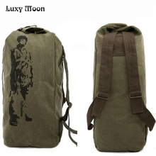New 2018 canvas backpack High capacity  bag casual backpack Army Bucket Bag Multifunctional Military Canvas Backpack Duffle Bag