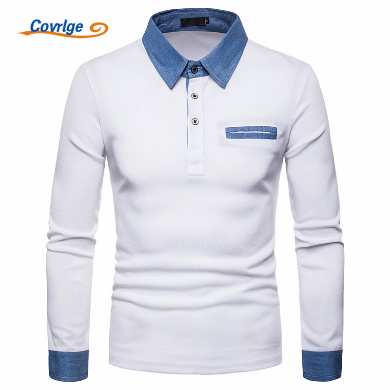 Covrlge 2018 New Style Long Sleeves Casual Men's Polos Men's Solid Fashionable Pullover Slim Fit Men Big Size Shirts MTP098