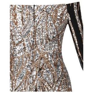 Image 5 - Женское вечернее платье с блестками Angel fashions, золотистое платье с открытыми плечами, длинными рукавами, Модель 404 456