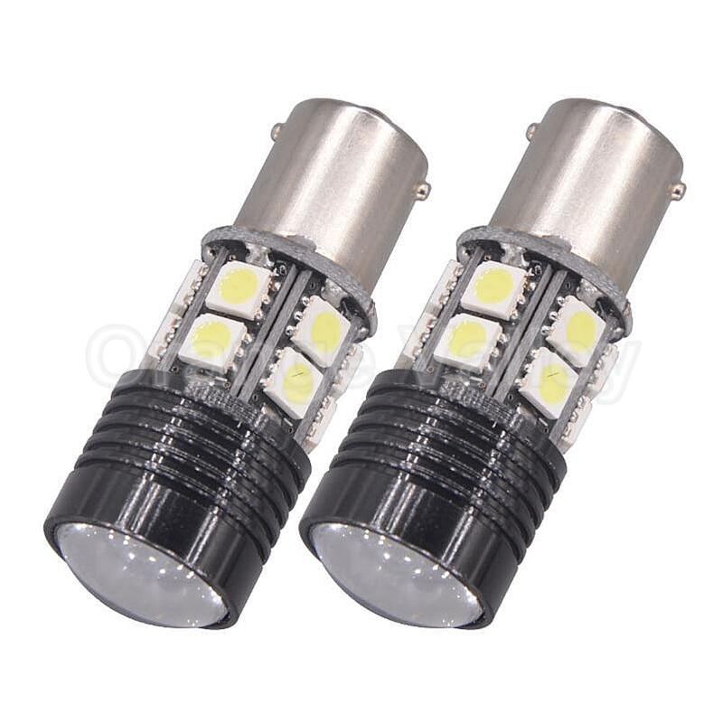 2Pcs 1156 BA15S P21W S25 Car 12 LED 5050 SMD/1 High Power chips Brake Lights Daytime Running Light No Electrode DC12V Lens