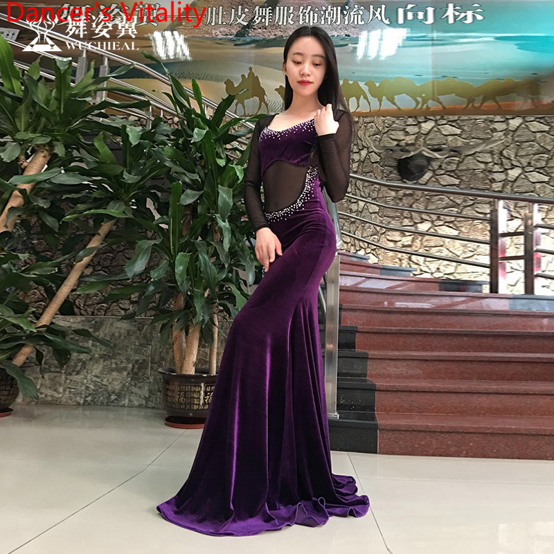 Women Belly Dance Clothes Girls Professional Dance Suit Senior Stones Long Sleeves Dress Latin Dance Clothing Dress M,L for Gril
