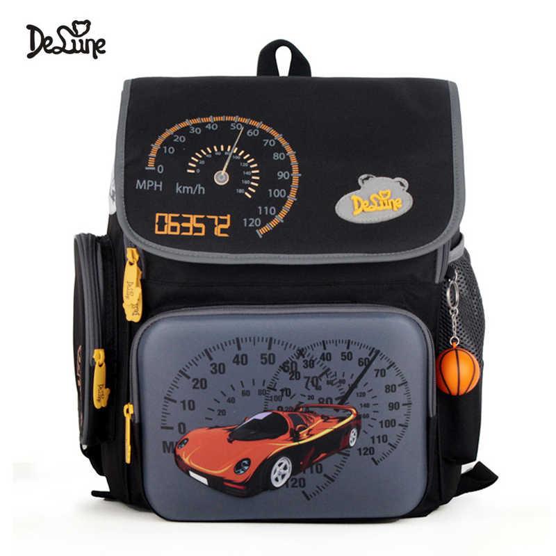 f2466d41654e Delune Brand Orthopedic School Bags For Boys Satchel Cars Children Primary School  Backpack Mochila Infantil Football