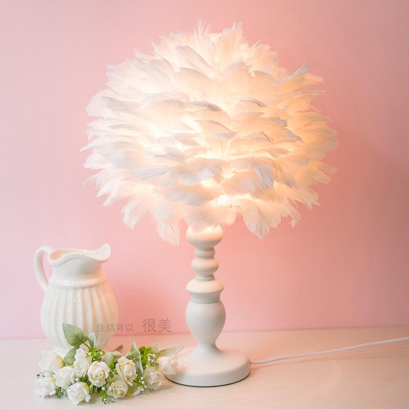 Moderne rose blanc plumes lampe de table chambre chevet hôtel boutique maison lampes de table mode créative lampe de table ZA82110 - 2