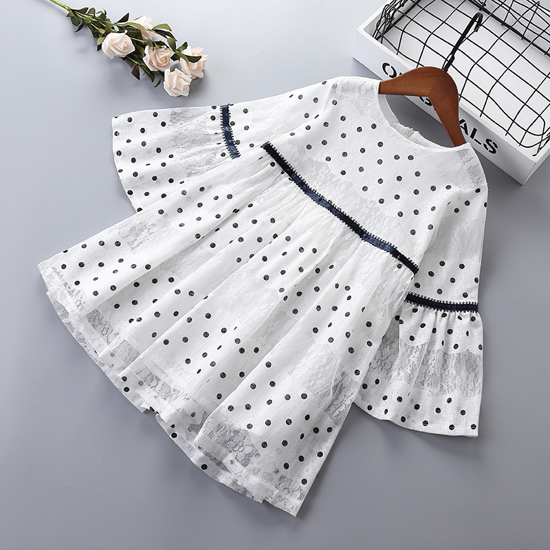 3-10 Years High Quality Girl Dress 2019 Spring New Fashion Casual Dot Lace Full Sleeve Kid Children Girl Clothing Princess Dress
